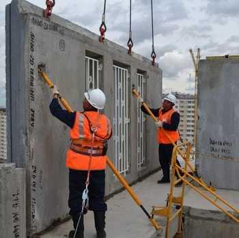 Процесс монтажа ж/б строительных конструкций